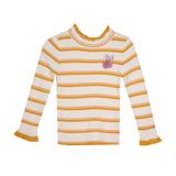Водолазка (3-11)- полоска,ажурная стойка и рукава, брошка -ушки горчица 288021