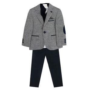 Костюм (5-8)-4-ка с шарфом,брюки синие Серый драп 8428
