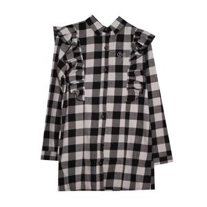 Рубашка (13-21)-клетка, с рюшей чёрный хлопок 561713
