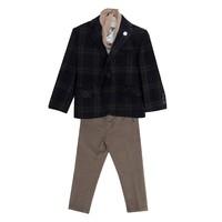 Костюм (1-4)-4-ка, синяя бежевая клетка с шарфом и значком,брюки коричневые синий шерсть 8398