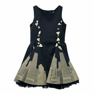 Платье (2-7)- золотой город, с золотыми сердечками, 2-ная юбка сетка чёрный хлопок 0008