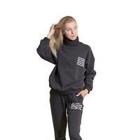 Костюм спортивный (S-M)-худи с высоким воротом с белой надписью  +брюки на манжете антрацит 1 1071