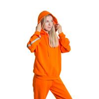 Костюм спортивный (S-M)-худи с серебристыми лампасами на рукавах +брюки на манжете оранжевый 1 1053