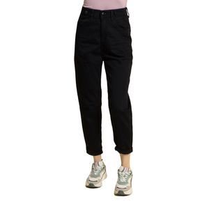 Джинсы (26-29)-Мом,с защипами на карманах, на поясе клёпки, с подворотами чёрный хлопок 30096