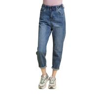 Джинсы (25-29)-Мом,с защипами на карманах, на поясе клёпки, с подворотами синий хлопок 30096-3