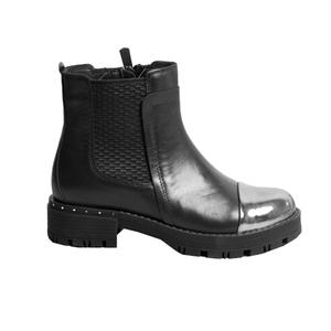 Ботинки (31-36) - высокие, сбоку замок, лакированные спереди черный кожа 38118-21