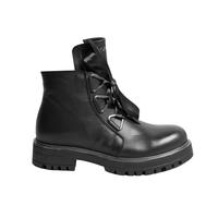 Ботинки (31-36) - на замке и атласной шнуровке, со стальной окантовкой на подошве черный кожа 39410