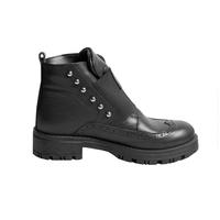 Ботинки (31-36) - высокие, с перфорацией, спереди широкая резинка с элементом из страз, по бокам клепки черный кожа 38100
