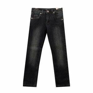 Джинсы (116-140)- с потертостями, на заднем кармане -вышивка синий хлопок 2877