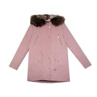 Парка (146-170) - с прямым кроем, подкладка с утеплителем, кулиска, фиксированный капюшон из натурального меха кролика со съемным натульным мехом розовый биопух 4006