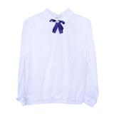 Школьная форма Блузка (122-152)-д/р, с круглым воротом и кружевом спереди и сзади, по низу резинка, брошь синий бант белый шифон 62419