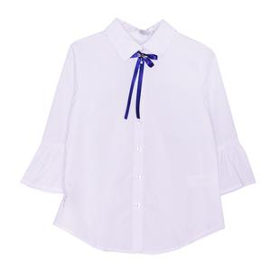 Школьная форма Блузка (134-164)-рукав фонарик 3/4, брошь бант с синими лентами белый 62396