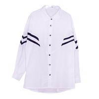 Школьная форма Блузка (134-164)-д/р, с приспущенными плечами и бело-черными полосами белый 62399