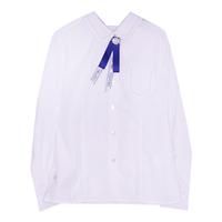 Школьная форма Блузка (122-170)-д/р, на вороте и кармане мелкая цепочка из бусинок, брошь бант с лентами белый 62414