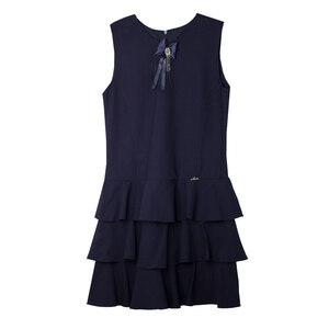 Школьная форма Сарафан (5-16) - юбка 3-х ярусная оборка, с бантом и брошкой синий габардин 70812