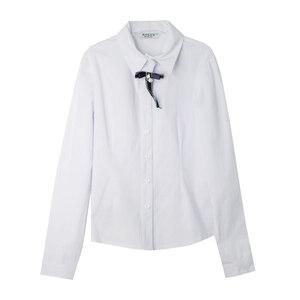 Школьная форма Блузка (7-20)-д/р, классика, брошка бантик с жемчужинкой белый хлопок 11835