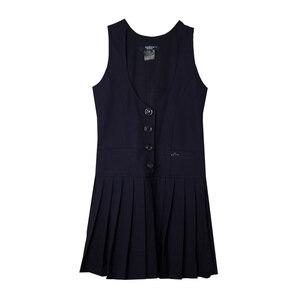 Школьная форма Сарафан (5-16) -на 4 пуговицах,2 -кармана, юбка складка синий габардин 70790