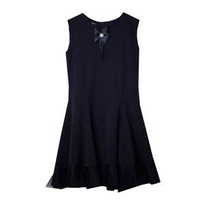 Школьная форма Сарафан (5-14) - юбка 6-клинка с оборкой из сетки, с бантом и брошкой синий габардин 70820
