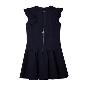 Школьная форма Сарафан (5-16) -на замке, рукав крылышко,заниженная талия, юбка оборка синий габардин 70782