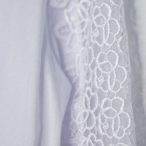 Школьная форма Блузка (7-18)-д/р,предплечье вставка из кружева, с бантом и жемжужинкой белый сатен 11736