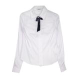 Школьная форма Блузка (7-20)-д/р, квадратные кармашки с кружевной отделкой белый сатен 11682