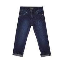 Джинсы (92-170)-с отворотом и металлической эмблемой на заднем кармане синий хлопок 3081