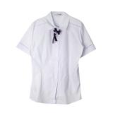 Школьная форма Блузка (7-20) -к/ рукав с мерешкой, синий бантик белый хлопок 11774