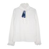 Школьная форма Блузка (122-160) - д/р, воротник стойка, кружево по планке, с брошью молочный хлопок 684431А