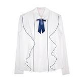 Школьная форма Блузка (130-165) - д/р, оборка с синей окантовкой, брошь синий бантик белый 184259