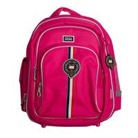 Рюкзак (ортопедический)- с жёстким  большим карманом  , 3 замка , посередине эмблема, с серебристым кантом розовый 588