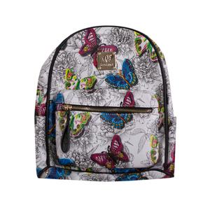 Рюкзак (средний)-с карманом, цветные бабочки, с чёрным кантом белый экокожа 6905
