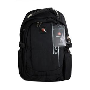 Рюкзак (ортопедический) -с серебристой надписью, с наушниками и зарядкой чёрный 7603