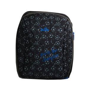 Рюкзак (ортопедический)- Футбольные мячики с синей надписью чёрный 7-114