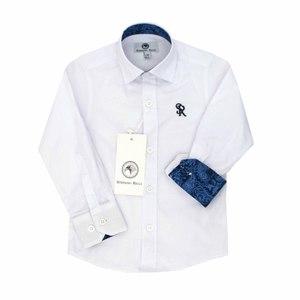Рубашка (1-5)-д/р, синяя вышивка белый хлопок 3932