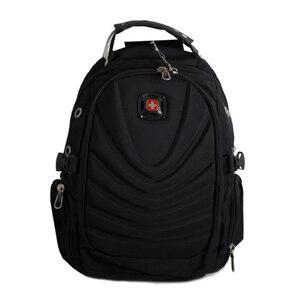 Рюкзак (ортопедический) - средний,на кармане-обьёмный геометрический рисунок с полукругом, с наушниками и зарядкой чёрный 1653