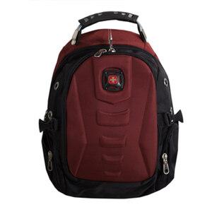 Рюкзак (ортопедический) - средний,на кармане-обьёмный геометрический рисунок с полукругом, с наушниками и зарядкой бордовый 1653
