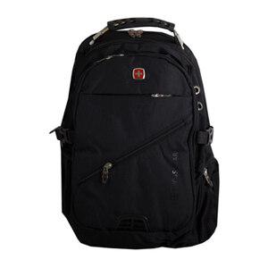 Рюкзак (ортопедический) -на кармане -замок по диагонали, с иммитацией фильтра, с наушниками и зарядкой чёрный 7657