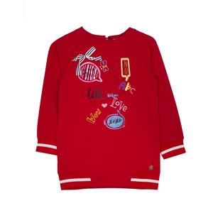 Туника (98-122) - с яркими стикерами и съемными значками, низ и манжеты на резинке красный 319679-G