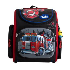 Рюкзак (ортопедический)-Пожарная машина  на жёстком  кармане, нашивки, эмблемы, с брелком -Минион чёрный 3-130