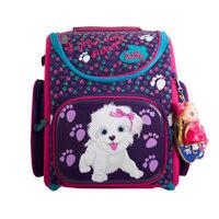 Рюкзак (ортопедический)-Собачка с розовым бантиком  на жёстком  кармане, брелок-куколка розовый с фиолетовым 3-129