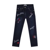 Джинсы (98-122) - с цветными надписями, на заднем кармане вышивка синий 319695-G