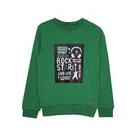 СвитШот (98-122) - с круглой горловиной, черный принт с надписями зеленый 519505-А