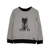 СвитШот (98-122) - принт с зеленоглазым котом серый 519506-А