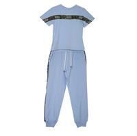 Костюм (3-11)-футболка+брюки на манжете, с серебристыми лампасами голубой хлопок 768079-1