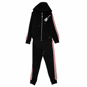 Костюм спортивный (122-152)-кофта на замке Гитара, брюки на манжете с красными лампасами чёрный 519028/519032-С