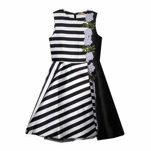Платье (128-158)-белая полоска, вышивка-гортензия на чёрной вставке чёрный 319089-D