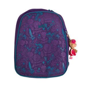 Рюкзак (ортопедический)- Сова на кармане ,обьёмные цветочки ,и  брелок -куколка фиолетовый 6-108