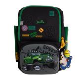 Рюкзак (ортопедический)- Зелёный Джип с нашивками ,часики,и  брелком -Минион чёрный 6-107