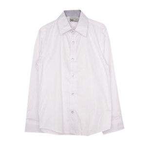 Школьная форма Рубашка (122-170)-д/р, отделка внутри-синяя крапинка, пуговицы с надписью белый 70744