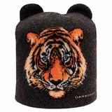 Шапка с ушками,тигр черный шерсть,хлопок 41511L-44-56